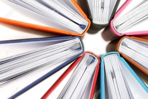 20353363-Top-view-of-colorful-books-in-a-circle-on-white-background-Stock-Photo
